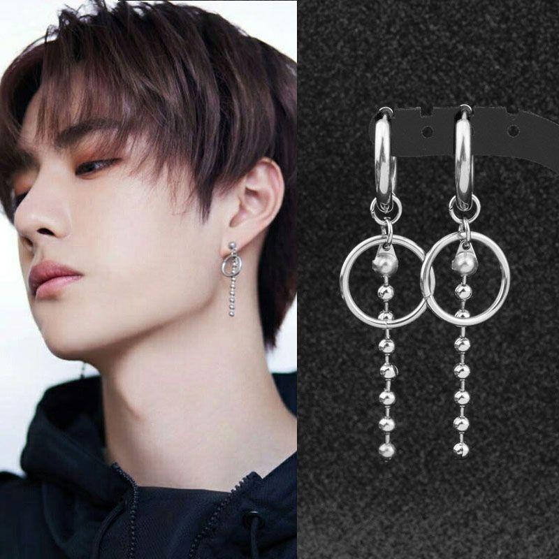 Idol Kpop Earrings Stainless Steel Grunge Hip Hop Rap Chain Tassel Round Pendant Stud Earring Kpop Dna Women Men Silver Ear Cuff Ear Cuff Earings Kpop Earrings