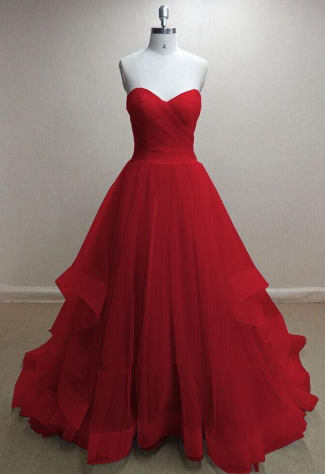 Custom Pretty Tulle Prom Dress, Red Sweetheart Long Prom