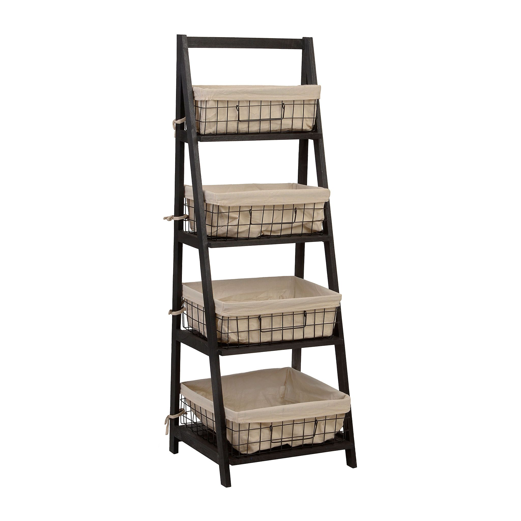 Kirkland S Wooden Ladder Shelf Storage Baskets Ladder Shelf