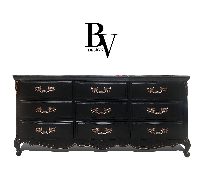 Free Shipping Black And Gold Tall Boy Dresser Chest Of Etsy Dresser Sets All Wood Furniture Boy Dresser [ 2571 x 3000 Pixel ]