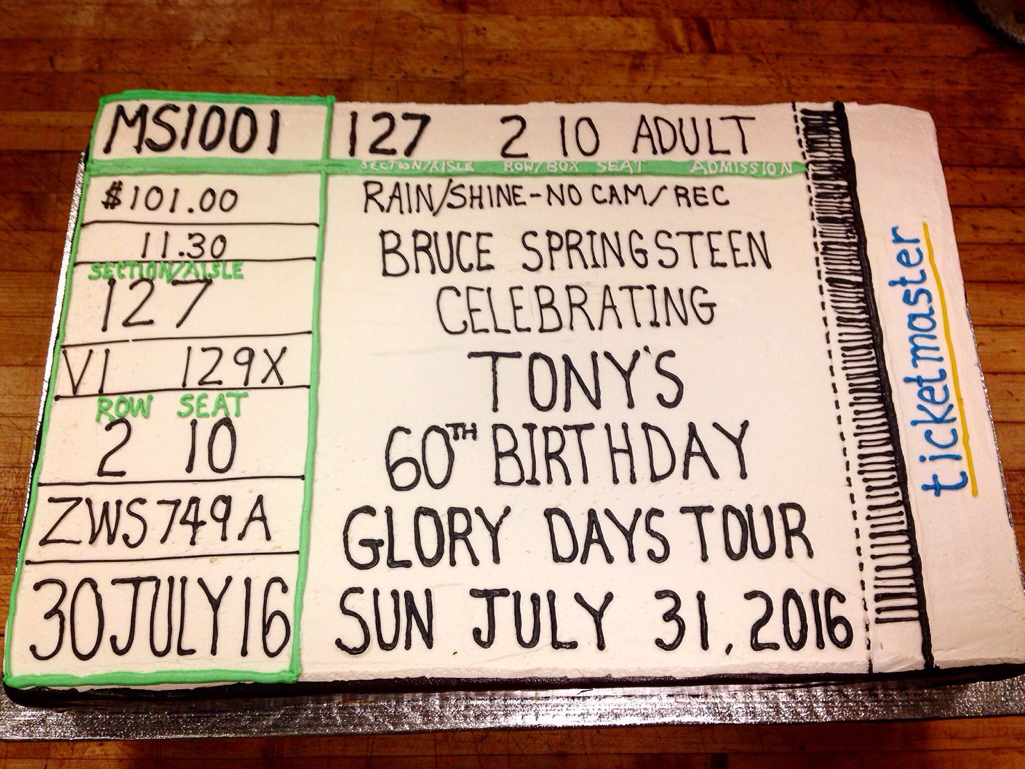 retirement letter to boss%0A Concert ticket Birthday cake for a guy that loves   The Boss    Bruce  Springsteen