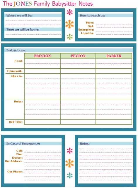 IHeart Organizing March Featured Space Kids - Babysitter Buddy - food sign up sheet template