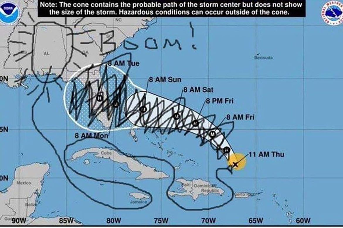 Sharpiegate Social Media Explodes With Hilarious Drawings Mocking Trump S Fake Hurricane Dorian Weather Map Alternet Org Weather Map Hilarious Storm Center