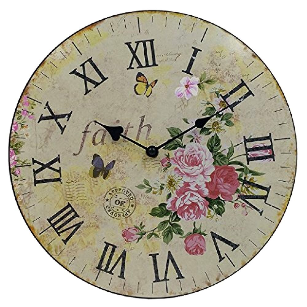 Hippih Silent Round Wall Clocks 12 Inches Living Room Decorative Vintage Hippih Wall Clock Wooden Large Wall Clock Decor Round Wall Clocks