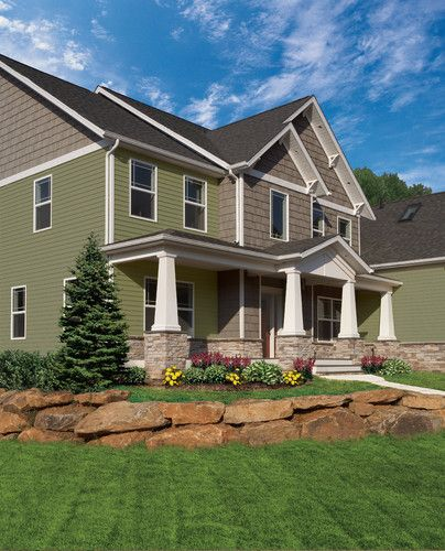 Small Ranch Home Exterior Design: Craftsman Traditional Exterior. Like The Dull Green, Brown
