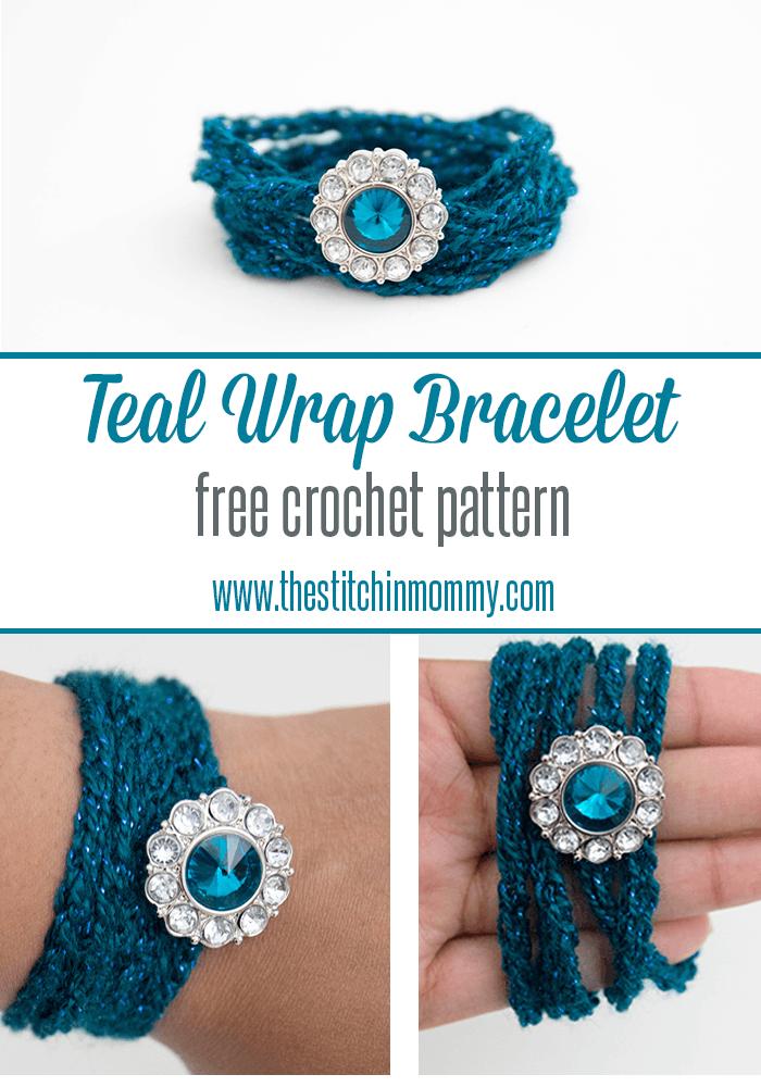 Teal Wrap Bracelet - Free Crochet Pattern | Stern häkeln, Armbänder ...