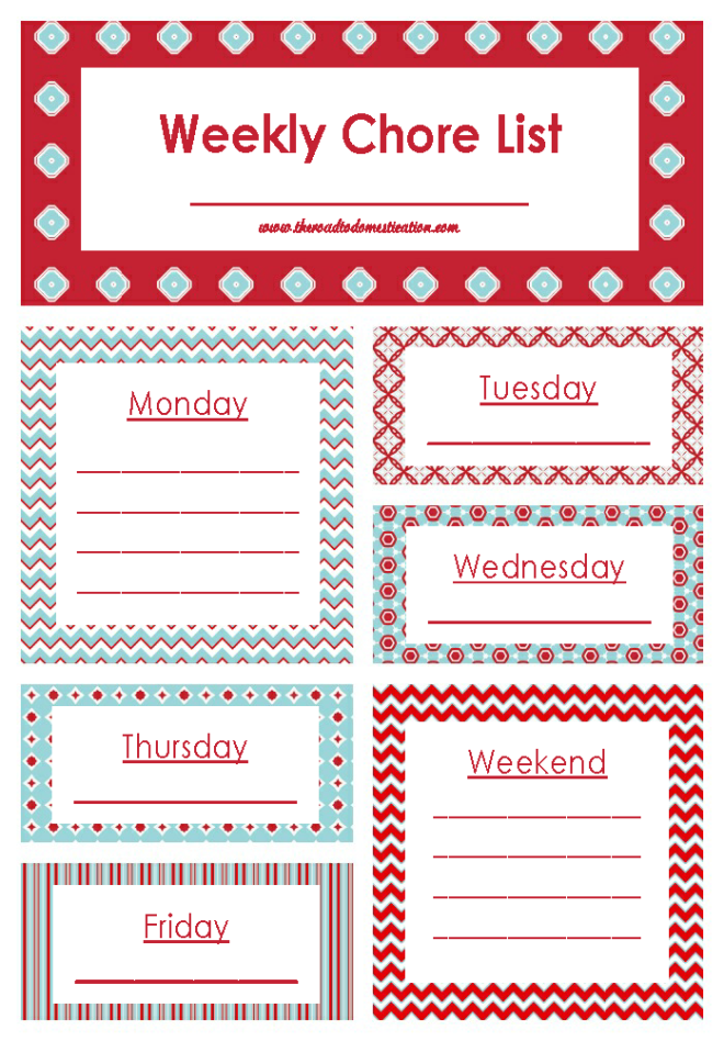 Weekly Chore List Printable | Blissful Organization | Pinterest ...