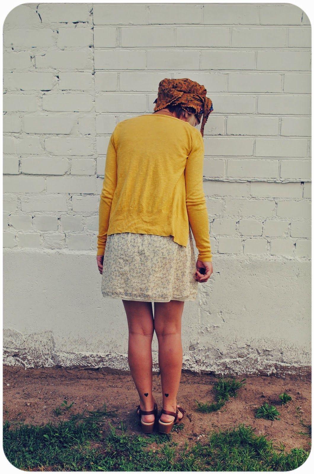 Leg tattoos, tiny heart tattoo. Alternative fashion blog. Yellow ...