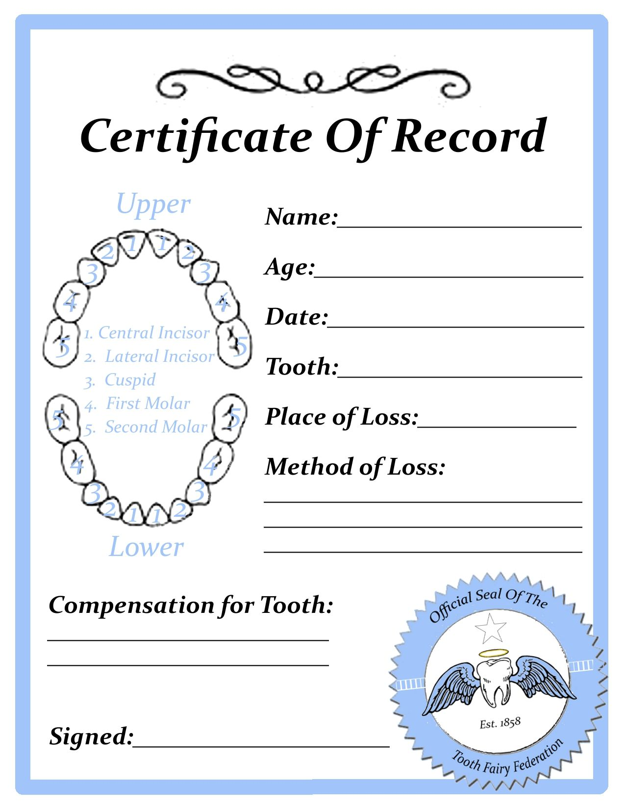 Printable tooth fairy certificate blankg fairies toys in the dryer free tooth fairy certificate printable this is pretty cool because you can mark off which tooth it was spiritdancerdesigns Choice Image