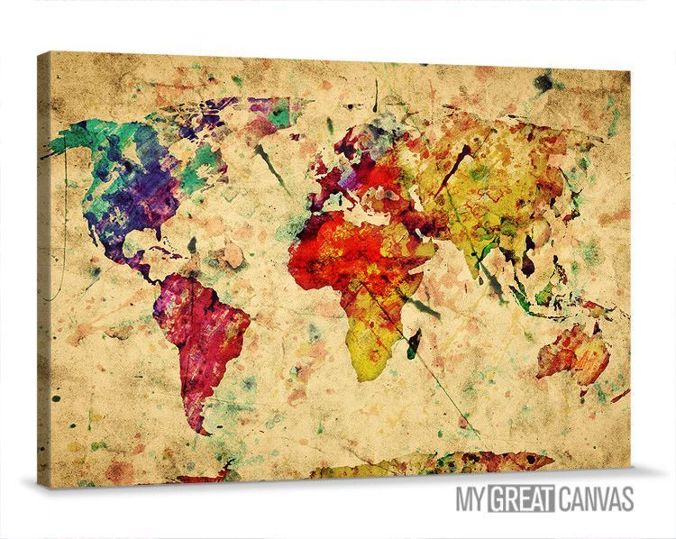 Large wall art canvas retro and colorful old world map print wall large wall art canvas retro and colorful old world map print wall art map canvas gumiabroncs Gallery