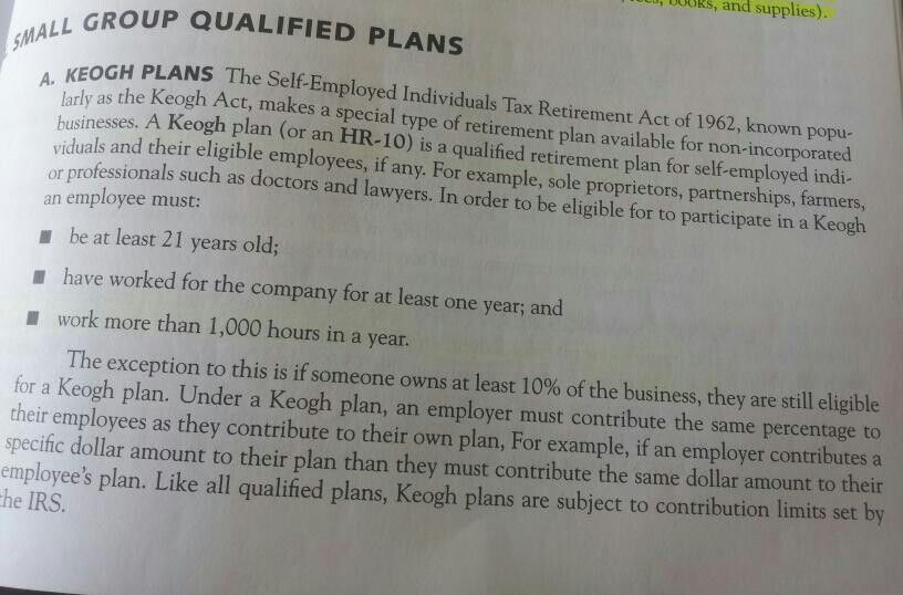 Small Group Qualified Plans The Self Employed Individual Tax