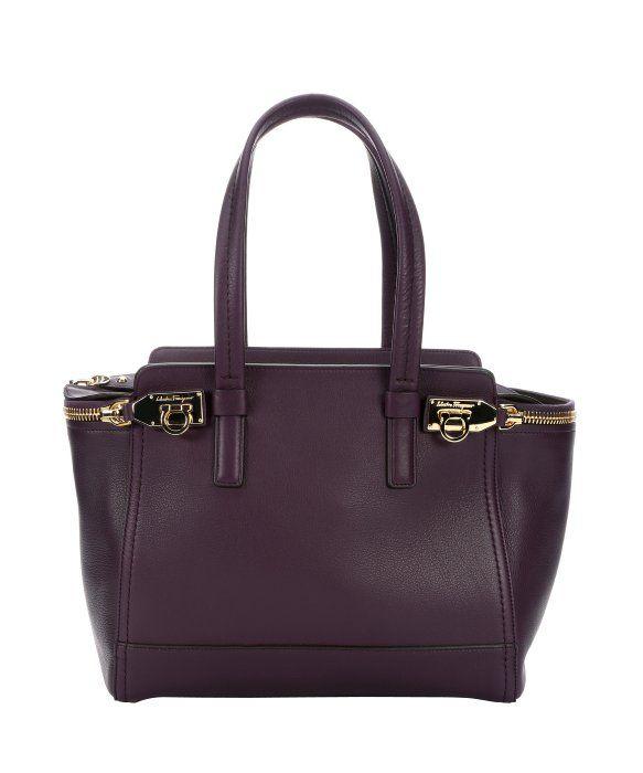 Salvatore Ferragamo plum leather structured tote bag