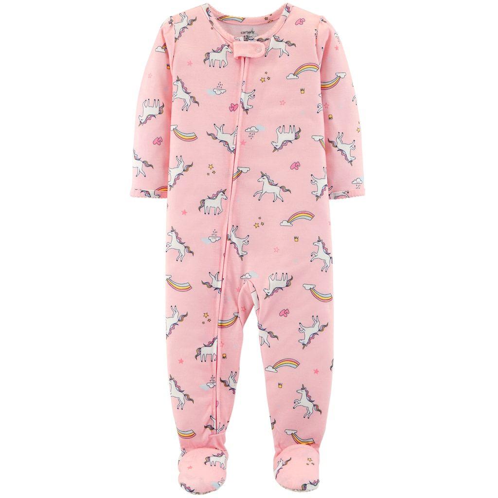 910fe9703a07 Toddler Girl Carter s Unicorn   Rainbows Footed Pajamas