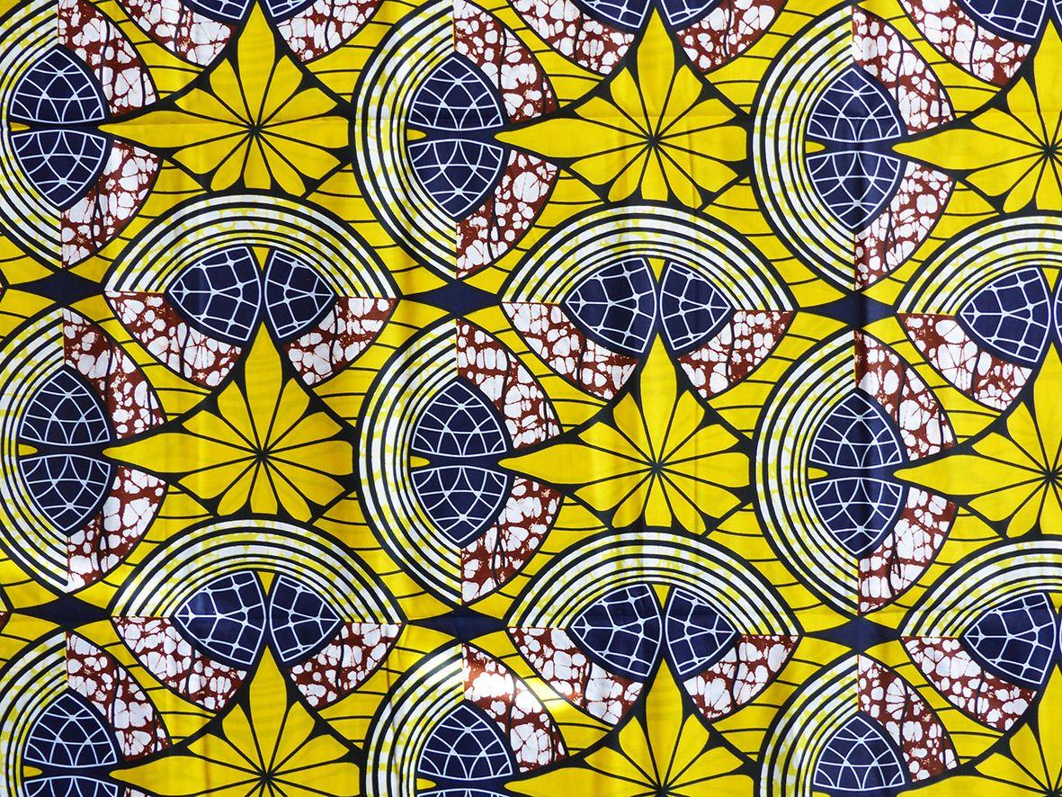 Tissu Wax Africain Motif Fleur Jaune Par 0 50m Tissus A Theme Par Bouts De Motifs Avec Images Motif Abstrait Peinture Africaine Tissu Africain