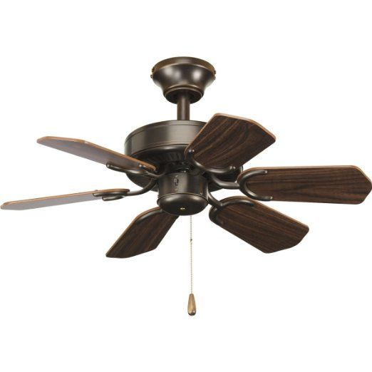 Progress lighting p2529 20 30 inch 6 blade fan with reversible classic walnut