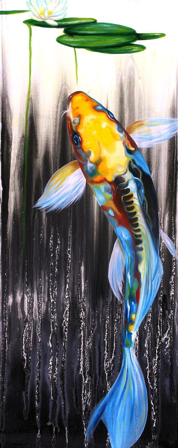 Felix murillo lleno de colores painting acrylic artwork fish art - Art Culos Similares A Signed Koi Fish Kodak Metallic Photo From Painting Japanese Original Collaboration Of Love Art By Ocean Clark And Laura Bochet En Etsy