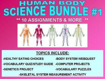 HUMAN BODY Bundle Set #1 (17+ Worksheet, Projects ...