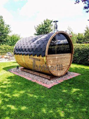 fasssauna saunafass mit holzofen und halbem panoramafenster timberin holzbadezuber badetonne. Black Bedroom Furniture Sets. Home Design Ideas
