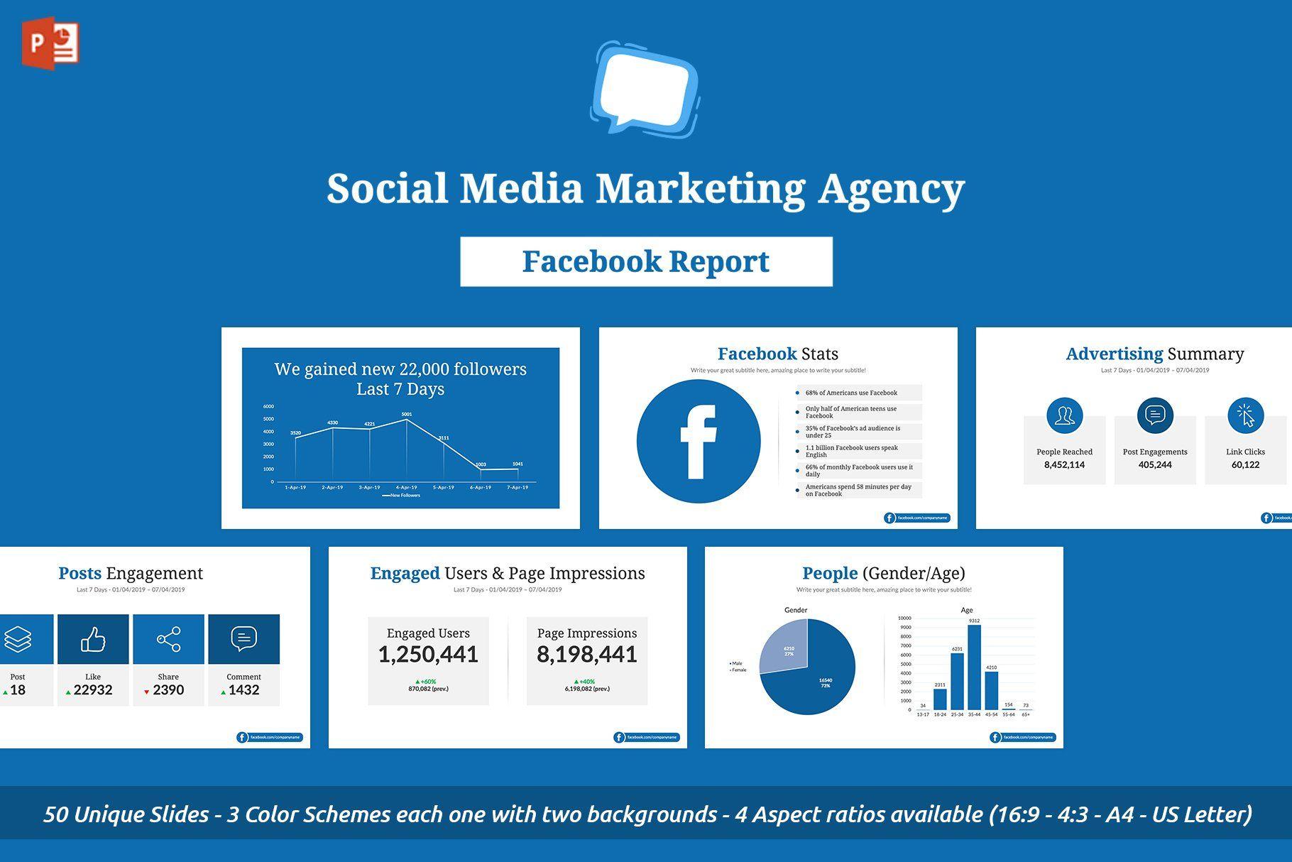 Facebook Report Powerpoint Template