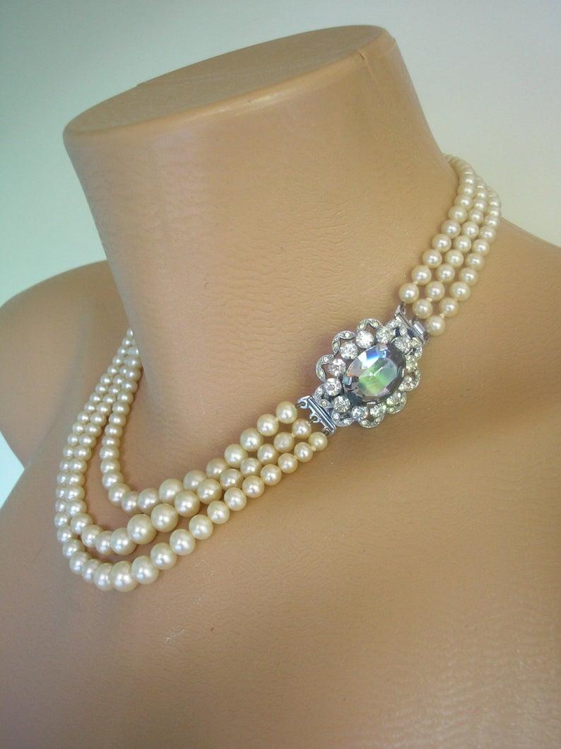 Retro Smoky Colored Rhinestone Grey Faux Pearl Bracelet