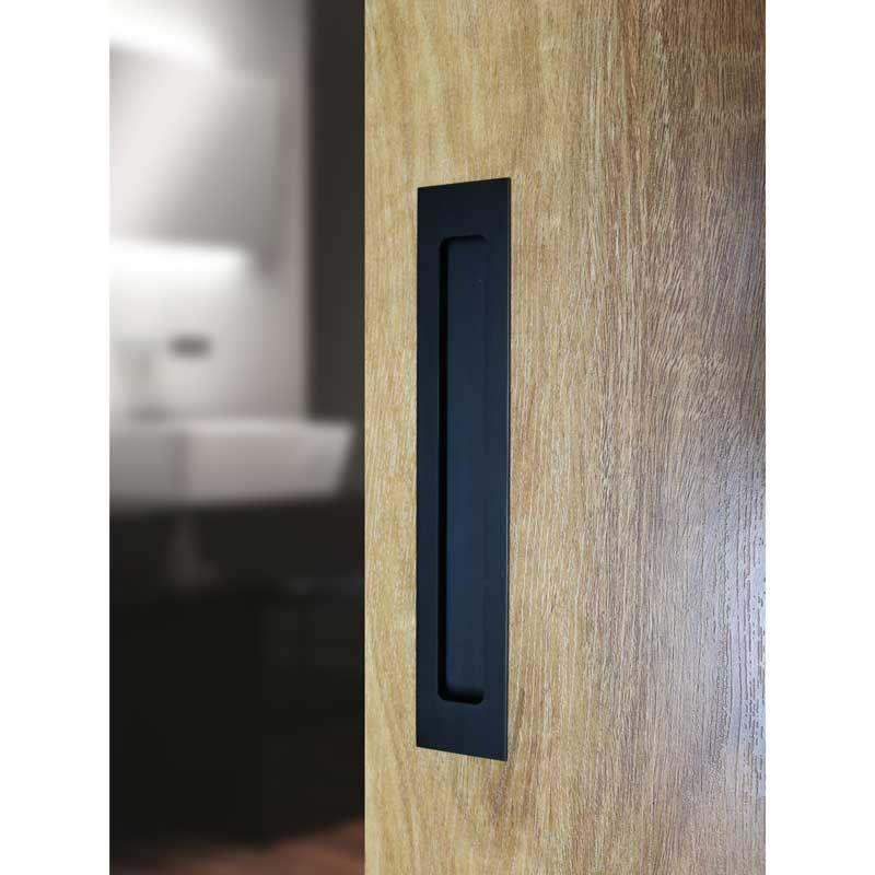 Milos Flush Pull Handles In Matte Black Finish Each Sliding Door Handles Black Door Handles Wardrobe Door Handles