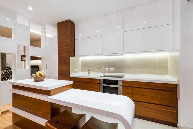 Biała kuchnia na wysoki połysk Drewno w kuchni   -> Kuchnia Mala Narożna