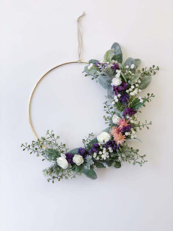 Photo of Gold Floral Hoop Wreath, Soft Greens Hoop Wreath, Spring minimalist wreath, Buds and lamb's ear wreath, Modern Spring Wreath