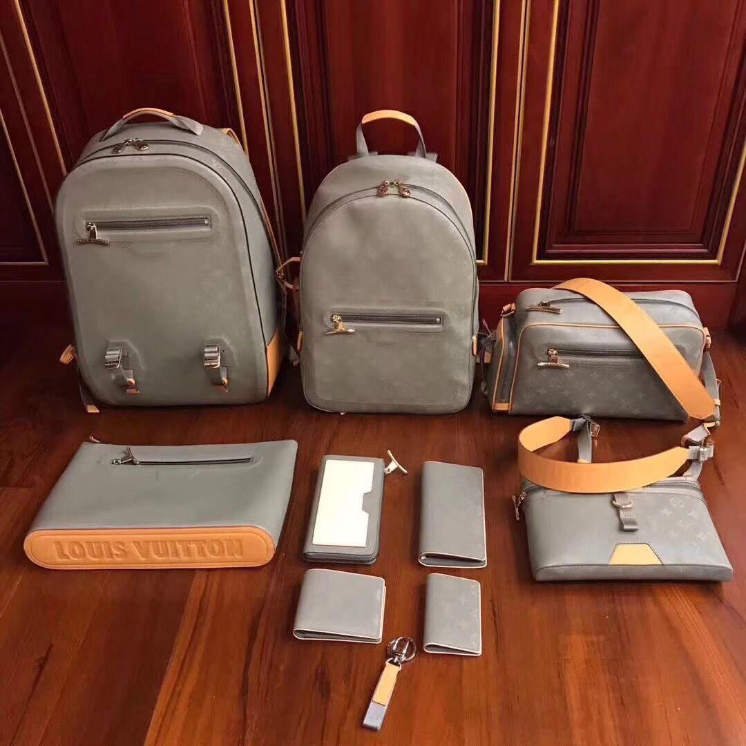 1c8a465ed4eb Louis Vuitton lv backpack PM monogram titanium coated cabas shoulders bag  green-gray