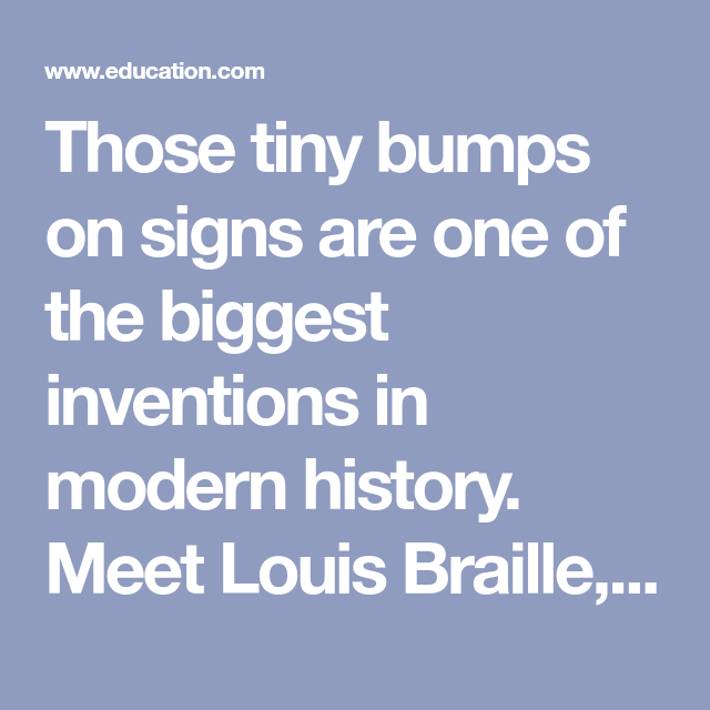 Louis Braille Worksheets And Homeschool