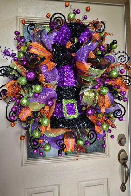 Kristen\u0027s Creations Halloween Mesh Wreath Fall And Halloween - halloween decorations on pinterest
