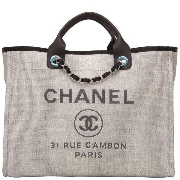 76dc425b475b Chanel Grey Canvas Large Deauville Shopping Bag ( 4