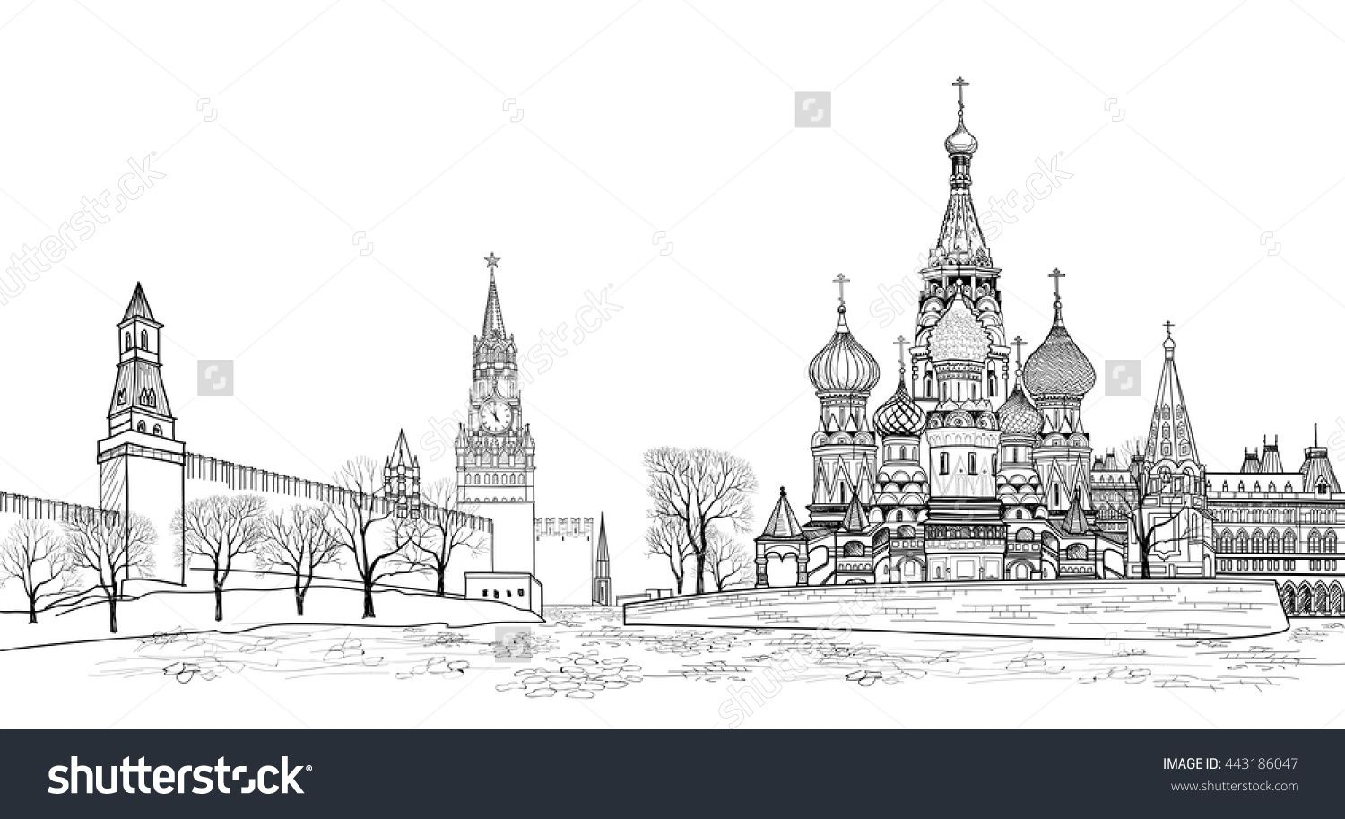 Stock Vector Red Square View Moscow Russia Travel Russia Vector Illustration Russian Famous Place Kremlin 4431860 Stock Illustration Illustration Russia Travel