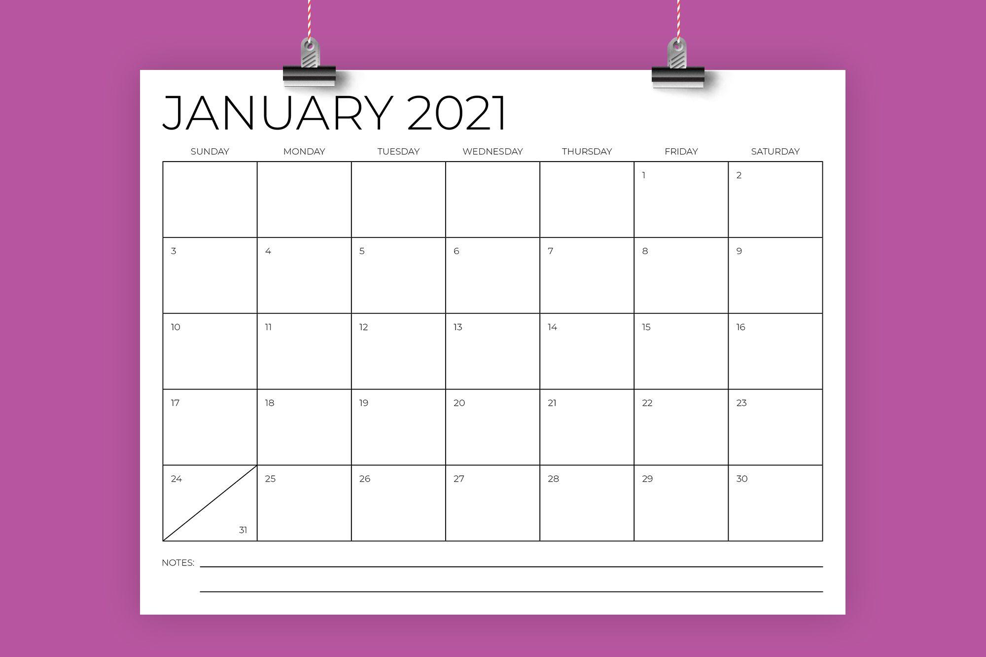 8 5 X 11 Inch Minimal 2021 Calendar Di 2020