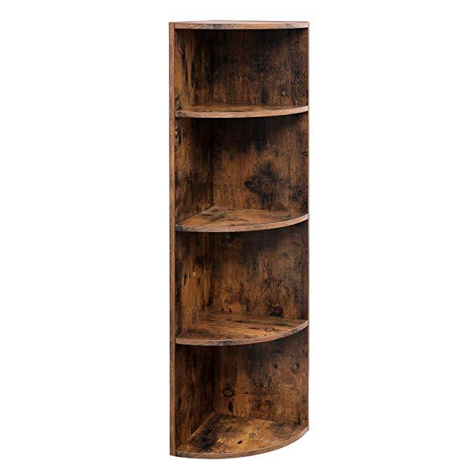 Amazon Com Vasagle 4 Tier Corner Shelf Unit Freestanding Display Storage Shelves And Wooden Bookcase For Kitchen Wooden Bookcase Bookcase Corner Shelf Unit