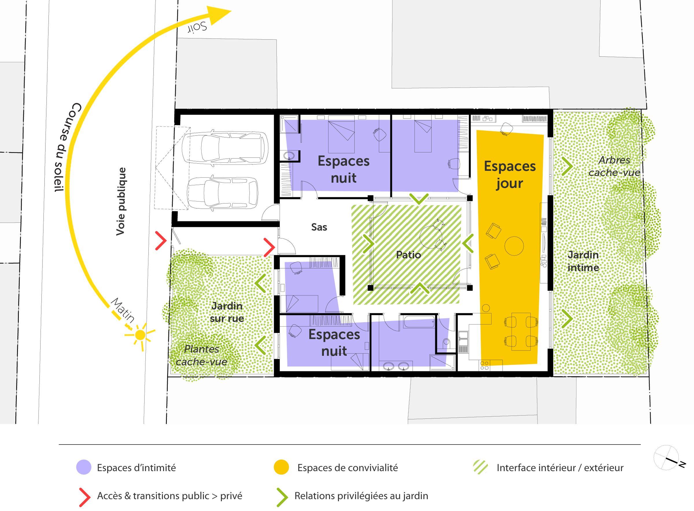 Plan maison plain-pied 4 chambres ‒ Ooreka | Maisons ...