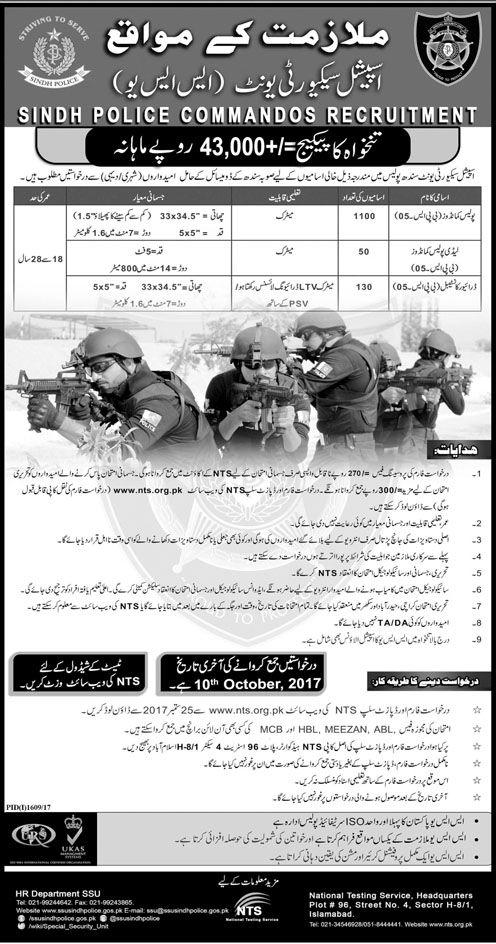 Commandos Recruitment in SSU Sindh Police Jobs 24 September