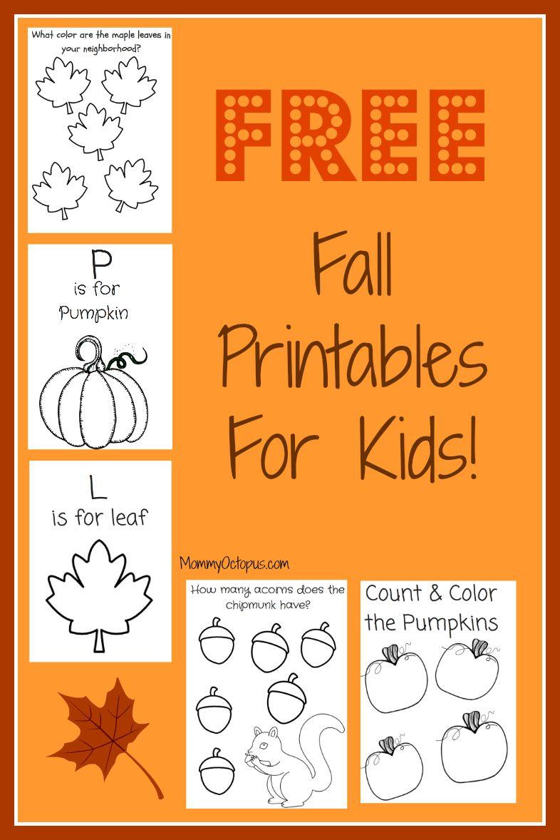 Free Fall Printable Activity Sheets Mommy Octopus Activity Sheets For Kids Autumn Activities Fall Preschool [ 1178 x 786 Pixel ]