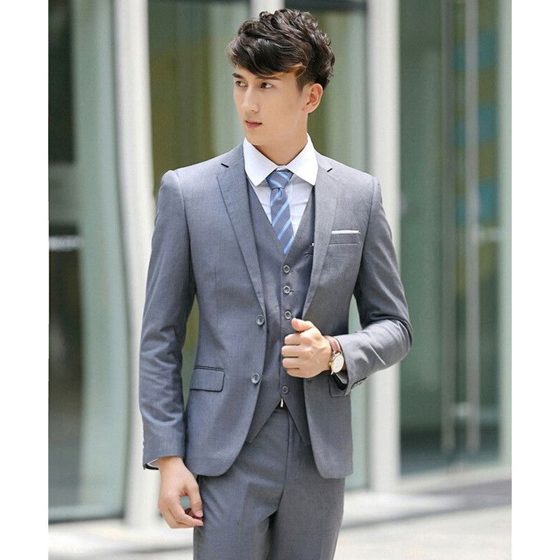 Click to Buy << Light Gray Two Buttons Notch Lapel Men Suits Slim ...
