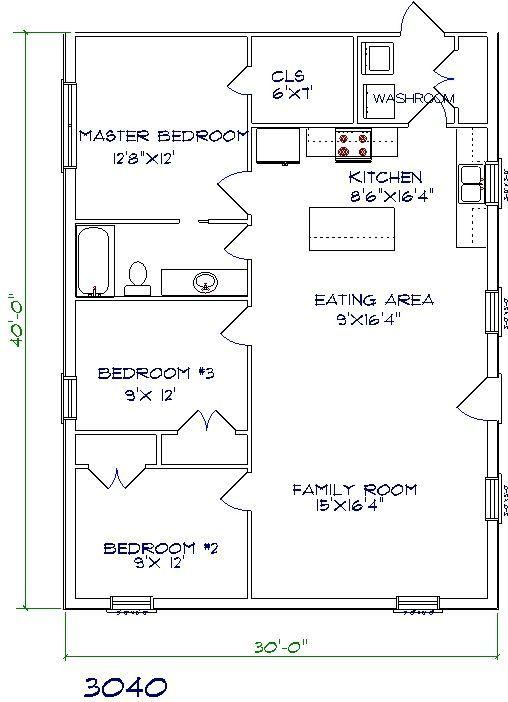Barndominium floor plans floor plans 30x40 floor plan for 30x40 shop plans