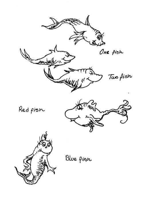 dr seuss fish coloring pages - Dr Seuss Coloring Pages Printable