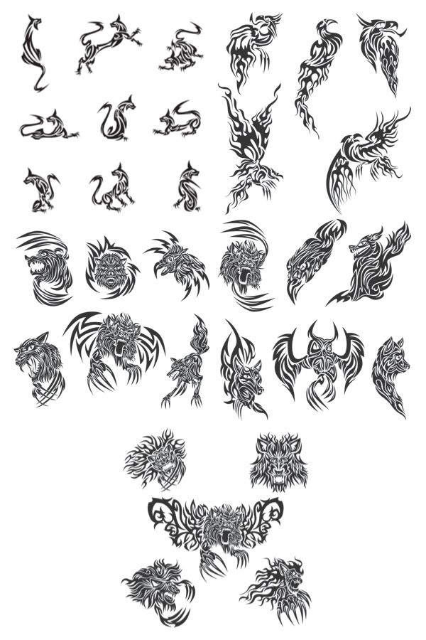 Tattoos With Animals Vector Jpg 600 900 Tribal Animal Tattoos Tribal Animals Animal Tattoo