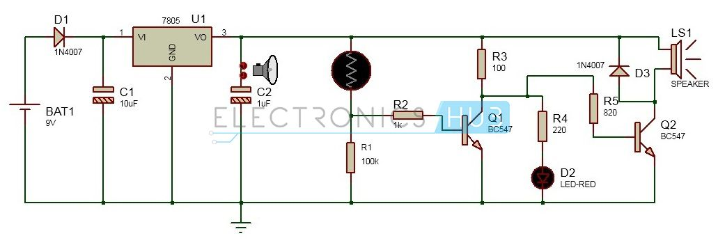 Electronic Eye Controlled Security System Circuit using LDR ...