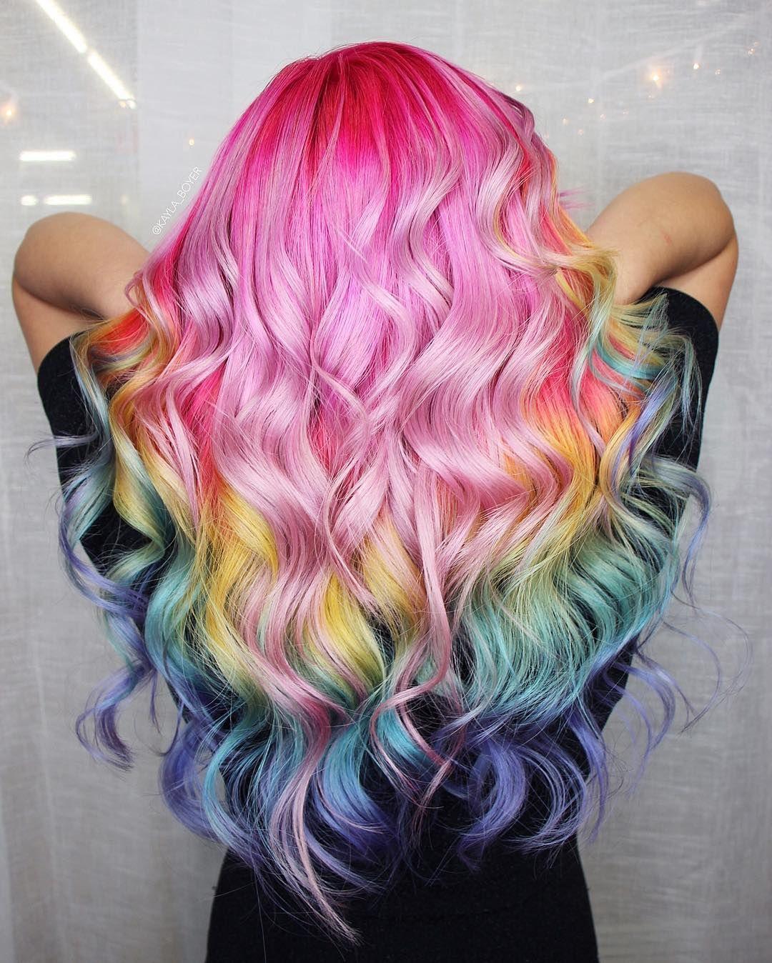 Cabelo Arco Iris Com Imagens Cabelo Lindo Cabelo Colorido