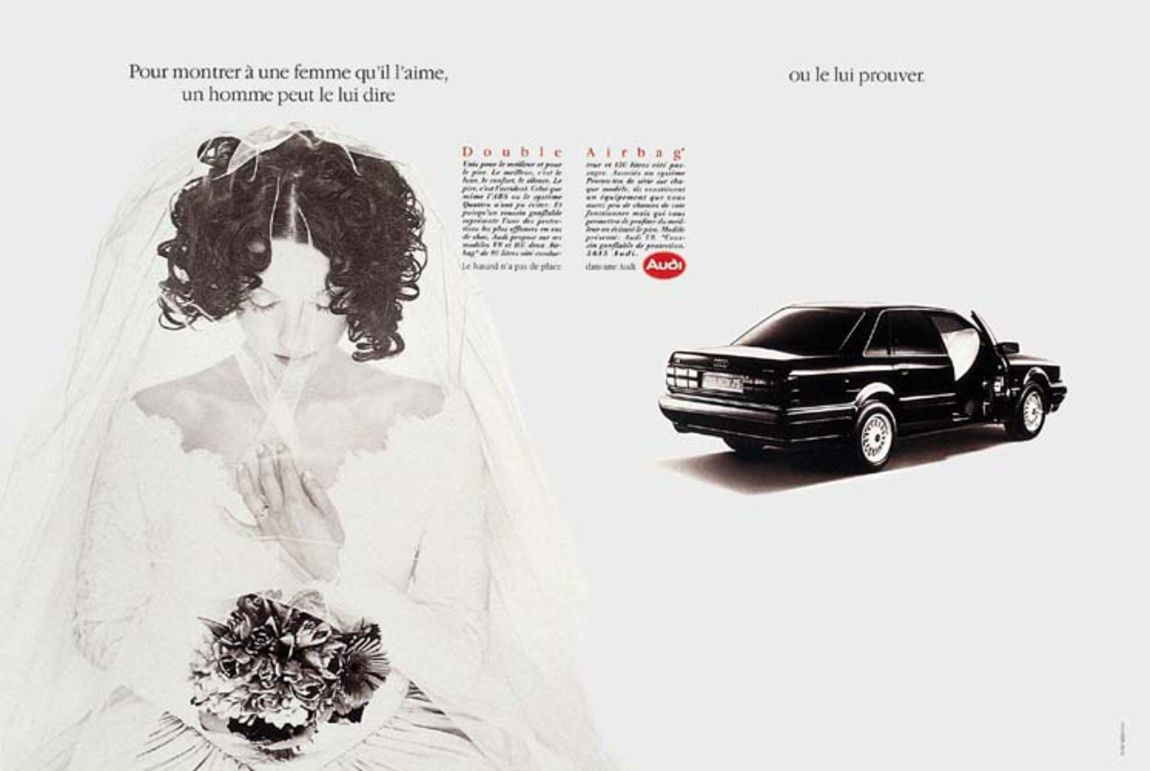 Read more: https://www.luerzersarchive.com/en/magazine/print-detail/audi-8466.html Audi Left: To show her that he loves her a man can tell a woman... Right: ...or he can prove it to her. Tags: Audi,Sophie Duponchel,Bernard Naville,Nick Knight,Andrew Beetles,DDB, Paris