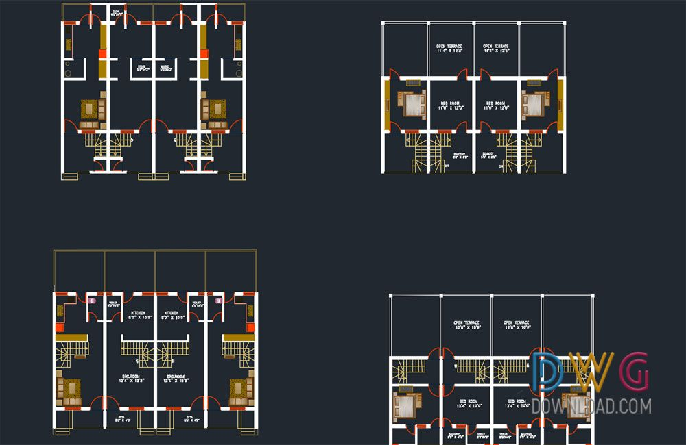 Dwg Download Row House Dwg Project Row House Architecture Details House