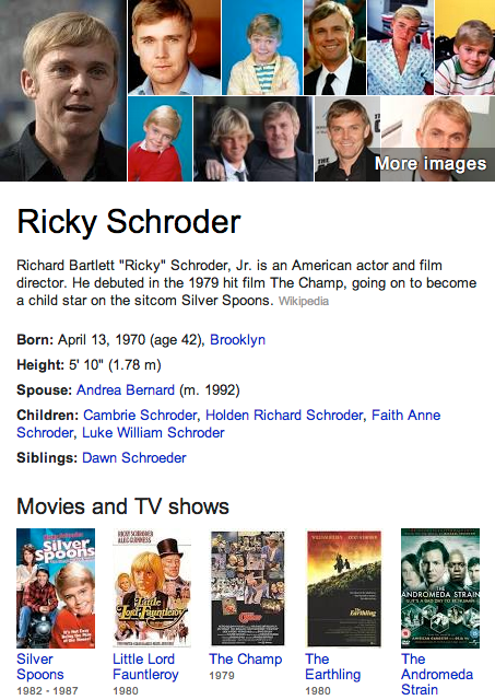 Ricky Schroder Is A Childhood Actor From A Show Called Silver Spoons Ricky Schroder American Actors Actors