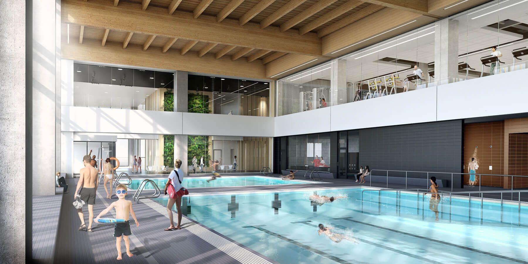 Maclennan Jaunkalns Miller Architects Vaughan Metropolitan Centre Interiors Indoor Surf Pool Indoor Swimming Pools Architecture