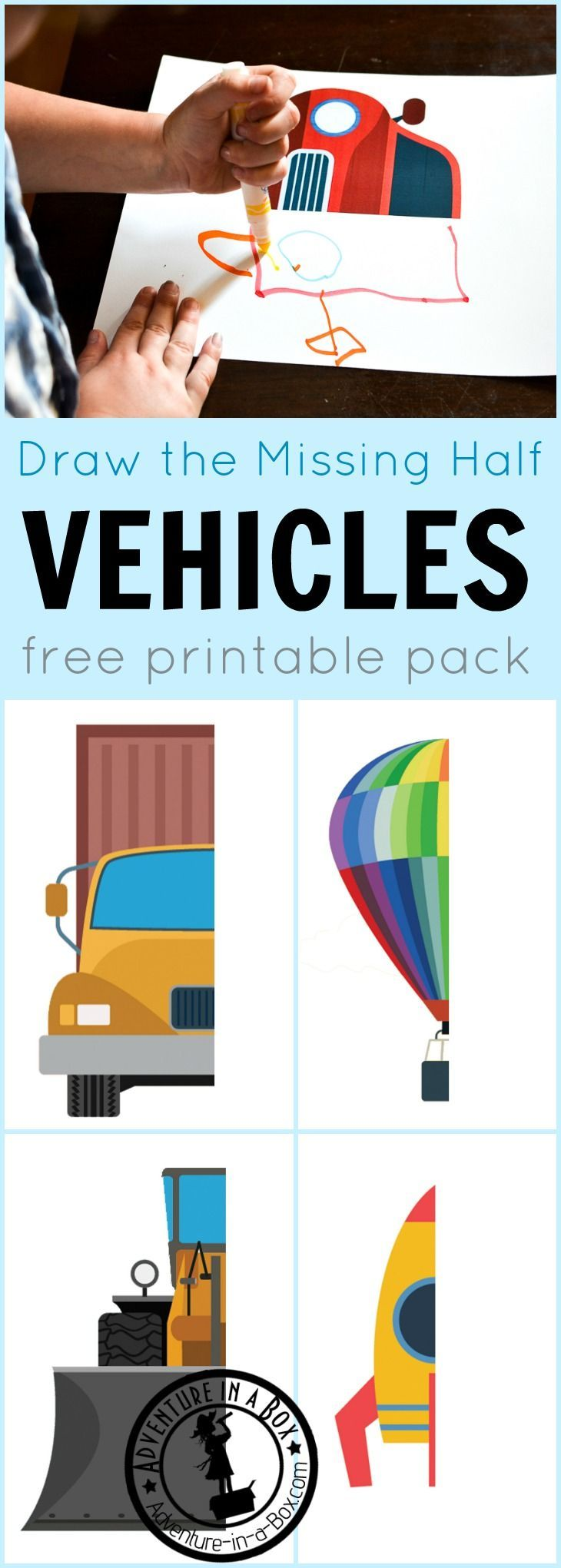 Draw the Missing Half: Vehicles | Pinterest | Prompts, Free ...