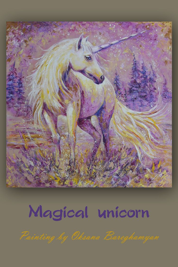 Magical Unicorn Painting Purple Gift Gold Pink Wall Art