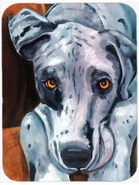 Great Dane Waiting Patiently Glass Cutting Board Large 7385LCB